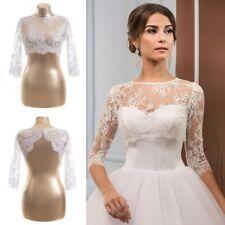 3edef77c138 Lace Bolero Wedding Jackets White Ivory Plus Size Bridal Wraps 3 4 Sleeves  Short