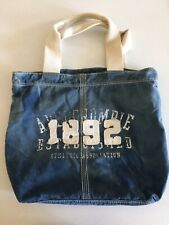 Abercrombie & Fitch (A&F) Denim Shoulder/Tote Bag/Student Bag Washed Blue Fabric