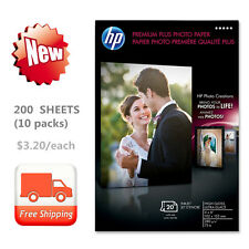 NEW 200 SHEETS (10 PACKS) HP Premium Plus Photo Paper, High Gloss 4 x 6 Inches