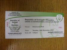 Billete De 13/11/2007: República de Irlanda U23 V Eslovaquia U23 [at Dalymount Park] (c