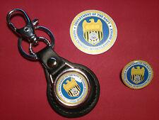 NCIS `NAVAL CRIMINAL INV. SERVICE:  LEATHER KEY RING, BADGE &  FREE   STICKER