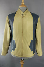 VINTAGE 1980's CLASSIC BEIGE & BLUE LEATHER BOMBER JACKET 38 INCH
