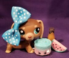 Authentic Littlest Pet Shop #1751 DACHSHUND Dog Mocha Brown Beige Blue Eyes LPS