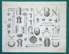 ARMOR Arms of Egyptians Persans & Medes Shields Bows Helmets - 1844 Superb Print