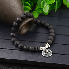 Fashion Women Men Natural Lava stone 8mm Bead Strand Chakra Mala Bracelets Gift