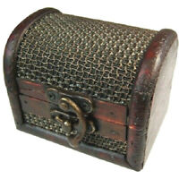 Rustic Wooden Colonial Style Trunk Treasure Chest Vintage Storage Box Mesh Embos