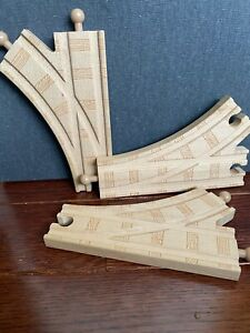 RARE Thomas Wooden Railway Curved Switch Track Lot of 3