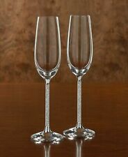 New Extra Tall Champagne Flutes Glasses Made With Crystals From Swarovski Pair