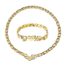 Womens I love You XO Stampato Necklace & Bracelet Set 18K Gold Stainless Steel