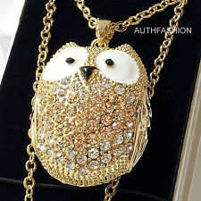 Big Size Owl Pendant Chain Necklace Set Animal Crystal w Free Giftbox Gold Color