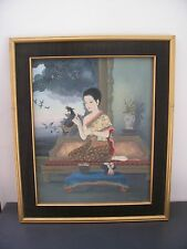 Superb painting woman asia Philippines. Signed beginning 20th century