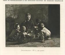 ANTIQUE VICTORIAN CHILDREN COOKING STOVE HOTPOT SOUP SPOON MINIATURE ART PRINT