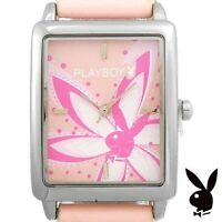NEW RARE Playboy Watch S Bunny Pink Leather Ladies Stainless Steel Quartz Women