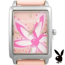 GRADUATION GIFT Playboy Watch Bunny Flower Pink Leather Band NEW IN BOX NWT RARE