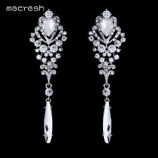 Mecresh Crystal Long Earrings for Women Silver Heart Bridal Jewellery EH293