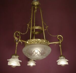 """OLD CHARM HIGH ANTIQUE 4 LIGHT BRASS LAMP CHANDELIER SATINED ROSES GLASS  Ø 24"""""""