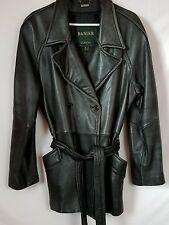 WOMENS DANIER BLACK LEATHER COAT JACKET SIZE 12/14 LARGE