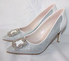 Zapatos de Novia Fiesta de Noche Zapatos Gris Plata con Brillo de Encaje B300