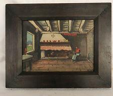 Tableaux Basque ancien, intérieur de maison par le peintre Jiva, signé en creux