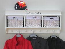 Vestiaire Mia MURAL + 3 paniers Garderobe de couloir Étagère blanc