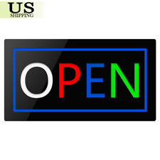 "Motion Lighted Led Business Sign Open Shop Store Cafe Neon Display Light 17""×9"""