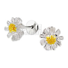 1prs Real 925 sterling Silver Small Daisy Flower Ear stud Earring for Women