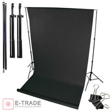 Photography Background Stand Kit + Photo Studio Black Backdrop 1.6m x 5m Set