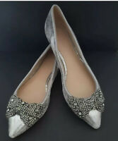 Tory Burch Vanessa Pewter Silver Embellished Bow Flat Size US 10M Retails $295