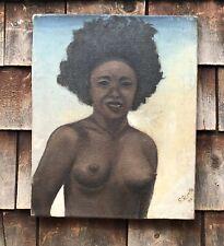 Vintage 1944 Oil On Canvas Portrait Nude Artwork Artist Signed
