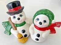 Vintage Christmas Snowman Hugging Couple Ceramic Mold Mr. Mrs. Handmade Figurine