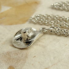 Silver Cowboy Hat Necklace - Country Western Hat Charm -  Country Girl Jewelry