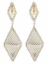 CLIP ON EARRINGS - gold drop earring with crystals and gold mesh - Caris G