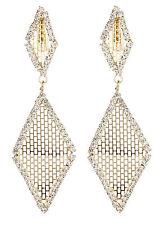 Pendientes de clip-oro con forma de gota cubiertos con cristales y Malla Dorada-Caris G