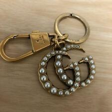 Gucci Double G Interlocking Pearls Key Ring GG Key Holder Authentic Bag Charm