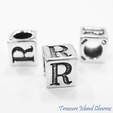 LETTER R .925 Solid Sterling Silver ALPHABET 7mm BLOCK BEAD, 5mm Hole Diameter