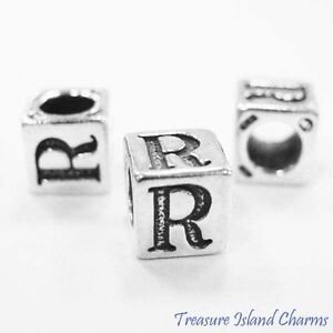 Letter R 925 Solid Sterling Silver Alphabet 7mm Block Bead 5mm Hole Diameter