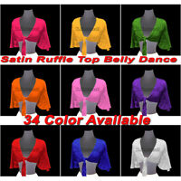 Satin Self tie Top Tribal Dance Choli Belly Dance Ruffle Top Womens Costumes S29
