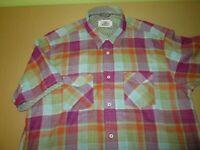 Mens XL Bugatchi Casual Button Front Dress Shirt multi plaid shaped fit cotton