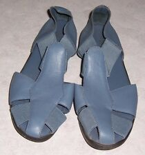 "MUSHROOMS ""Carran"" Blue Leather Fisherman Sandals Flats Womens Shoes Size 6M"