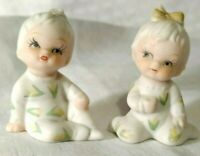 Set of 2 Vintage Miniature Bisque Porcelain Babies Girl and Boy in Sleepers