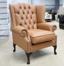 BLOOMSBURY CHESTERFIELD QUEEN ANNE HIGH BACK WING CHAIR SADDLE BROWN LEATHER