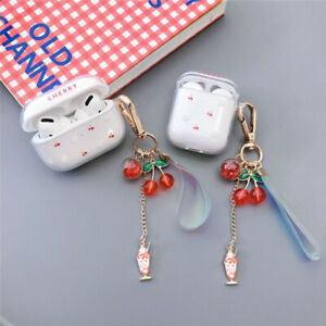Cute Charging case For Airpods 1/2 Pro Girls Cherry pendant Earphone Bag Cover