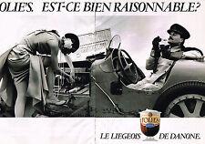 PUBLICITE ADVERTISING 094  1987  DANONE  yaourts desserts Le liègeois  ( 2 p)