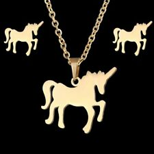 Fashion Women Gold Stainless Steel Horse Necklace Earrings Jewelry Set Gift New