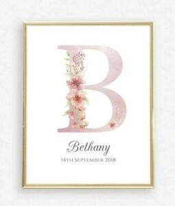 Personalised Nursery Print Letter Name Initial Baby Girl Room Poster Pink Floral