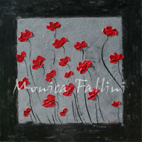 Red Poppies original painting 22 x 22 inch contemporary art by Fallini