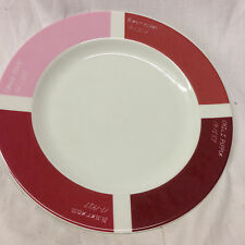 "FISHS EDDY PANTONE LUNCHEON SALAD PLATE 9"" COLOR BLOCKS RED PINK BURNT OCHRE"