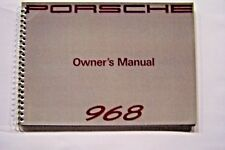 1992 Porsche 968 Owners Manual Parts new factory  reprint