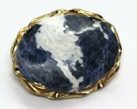 Vintage Brooch Pin Blue Stone Gold Tone