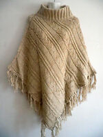 Women Chunky Cable Knit Top Cardigan Poncho Batwing Cape Sweater Coat Outwear
